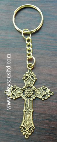 Holy Gold-tone Cross Keyring Religious Christian Key Ring Gift Souvenir